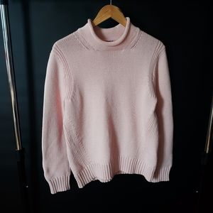 J.crew 1988 roll neck cotton sweater in pink blush